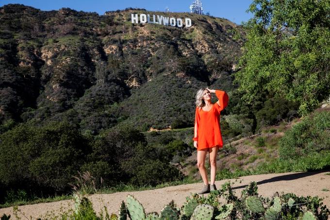 Orange dress and girl near Hollywood Sign - You'll Never NOT Have Something to Wear with The Stylist LA